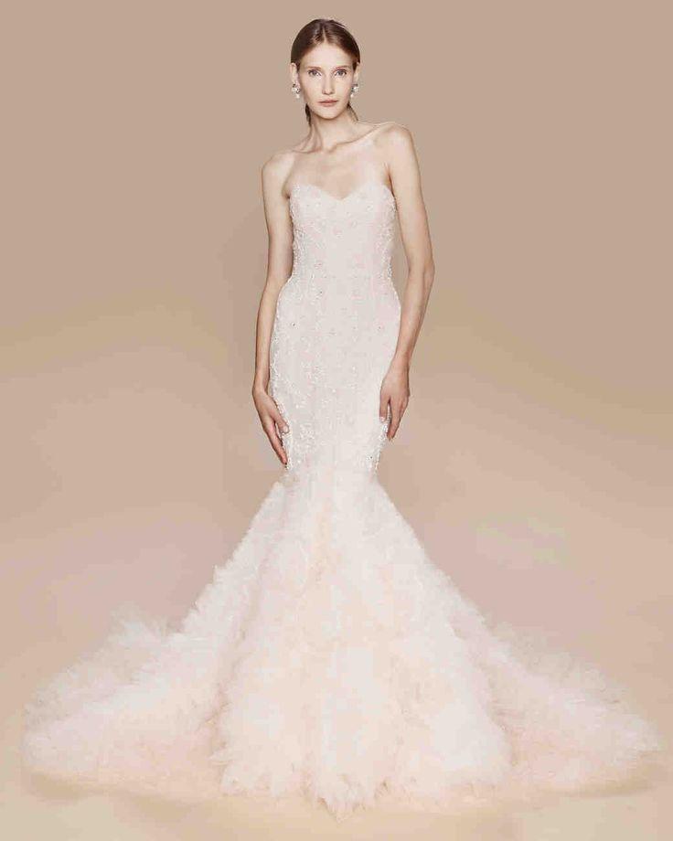 64 best blush pink wedding gowns images on pinterest for Trumpet skirt wedding dress