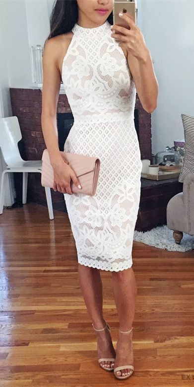 bodycon round neck knee length white lace homecoming dress