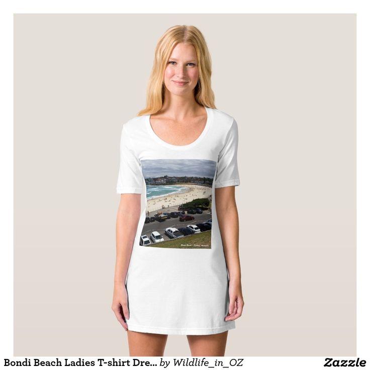 Bondi Beach Ladies T-shirt Dress / Nightie - Bondi Beach Australiana - Click on photo to view item then click on item to see how to purchase that item. #bondibeach #bondi #iconicbeach #sydney #australia #surf #sunrise #sand #surf