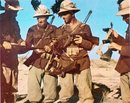 soldiers of the 8th Bersaglieri Regiment with captured submachine guns after the Battle of Gazala (1942)