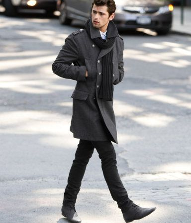 More my style in terms of long coats. Everything looks better in black or dark gray.