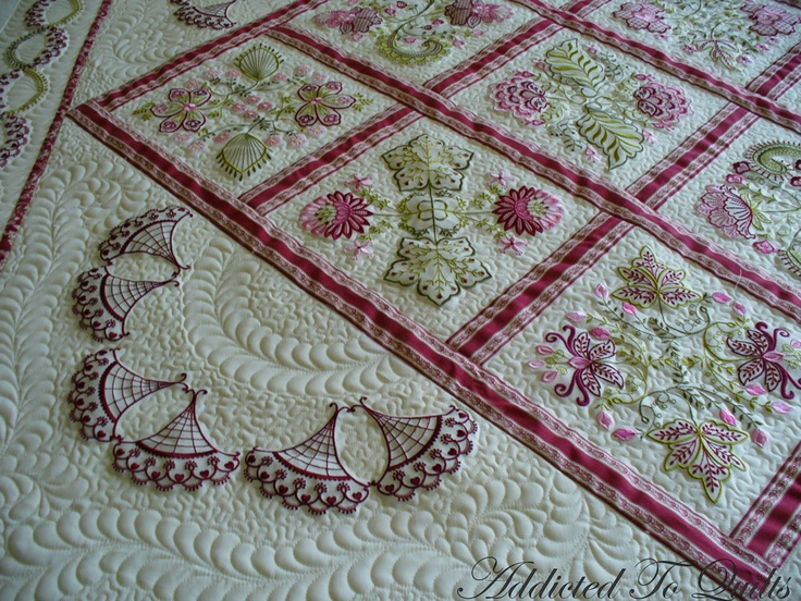 Addicted To Quilts: More Embroidery from Janet SansomSewing Quilt, Quilt Ideas, Quilt Design, Sewing Embroidery, Beautiful Quilt, Janet Sansom, Quilt Addict, Machine Embroidery, Machine Quilt