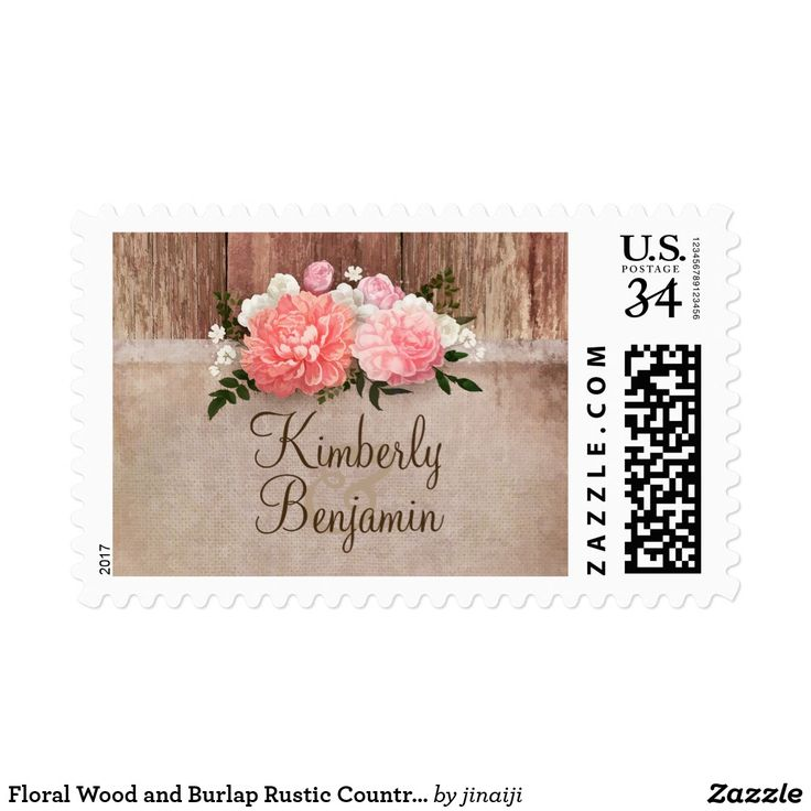 Floral Wood and Burlap Rustic Country Wedding Postage Rustic country wedding postage stamps with pink flowers bouquet and burlap