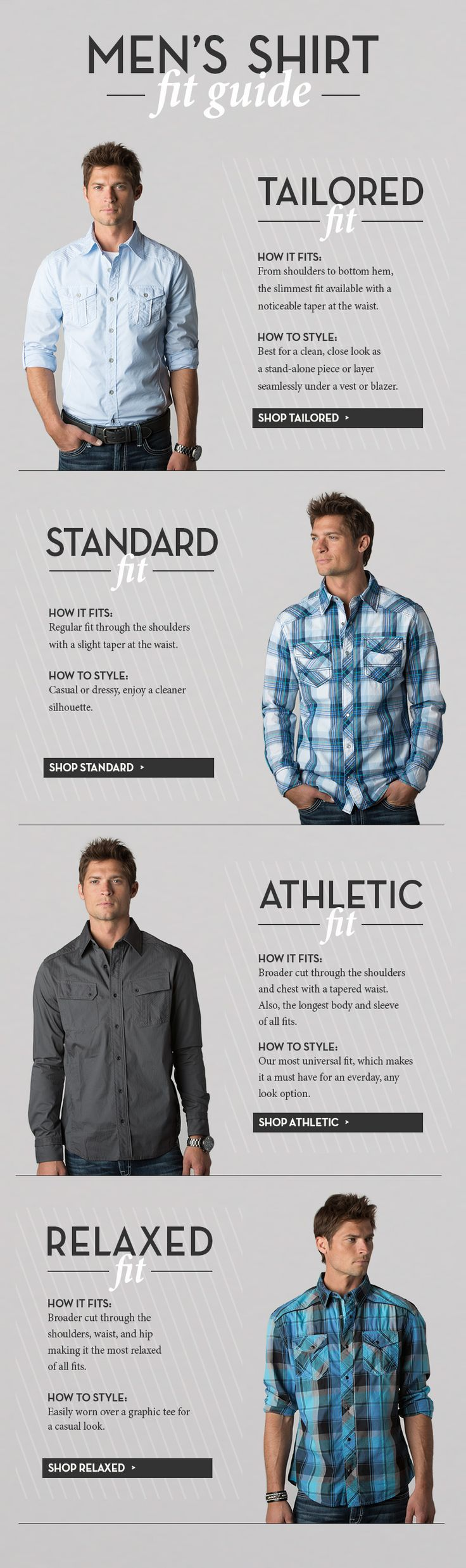 Men's Shirt fit guide. Customize your made to measure shirt: http://tailor4less.com