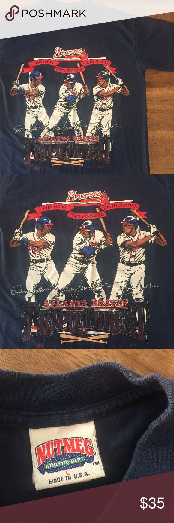 Vintage Atlanta Braves T shirt triple threat Great condition! No stains and minimal fading. A true vintage t shirt (1992) 😊❤️ Shirts Tees - Short Sleeve