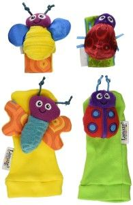 Baby Toys: Tomy Lamaze Wrist Rattle and Foot Finder Set Not only does this awaken baby's auditory awareness, but it also awaken baby's muscles as baby tries to reach for colorful bugs. As baby reaches and wriggles about, the bugs rattle! The tactile senses are stimulated too as the bugs are made with multi-textures. http://bit.ly/1t80Zud