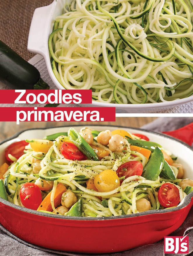 Easy Spiralizer Recipe - Substitute zucchini noodles for pasta for a fresh summer meal loaded with veggies. http://stocked.bjs.com/food/zoodles-primavera
