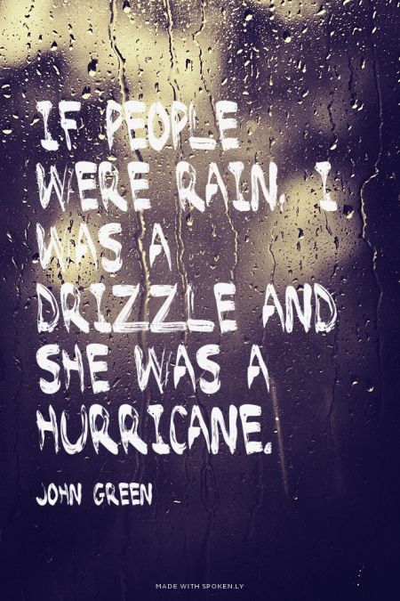 if people were rain, I was a drizzle and she was a hurricane. - John Green | Emily made this with Spoken.ly