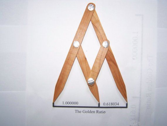 FREE SHIPPING TO USA  The Golden Ratio: 1.000000 to 1.618034  or 0.618034 to 1.000000   This Fibonacci Gauge holds constant the Golden Ratio and takes the math out of creating pleasingly proportioned Art and Craft items. I make each gauge individually, using apple wood, metal hardware, and Danish oil finish. Apple wood is a wonderful medium for this tool, because it is durable and flexible, and attractive, with smooth satin texture. With proper care, it will last for many years. And I…
