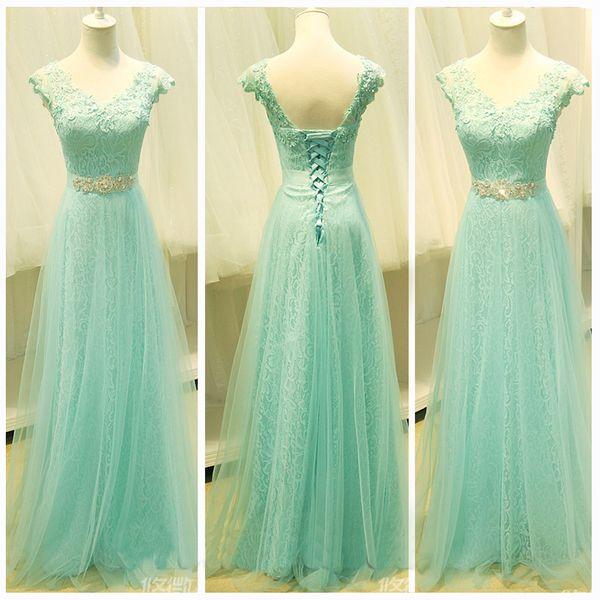 A-line+V-neck+Floor-length+Tulle+Prom+Dresses/Evening+Dresses+#SP7329