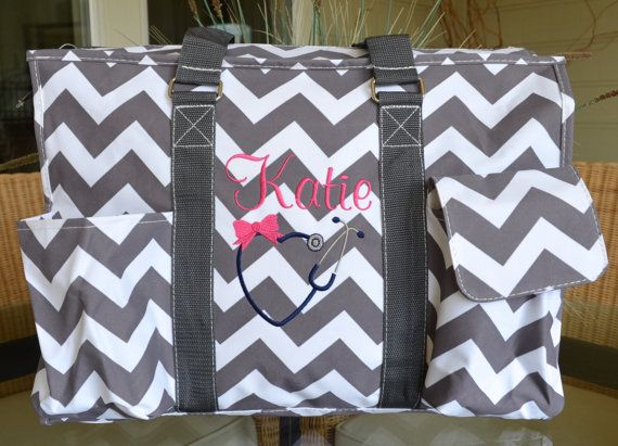 Utility Tote 16 inch & 19 inch Gray Chevron by StitchedInStyle1