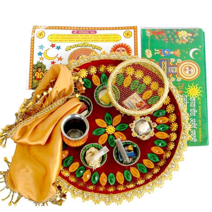 Multicolor Puja Thali Karwachauth Gifts : http://karwachauth.indiangiftsportal.com/