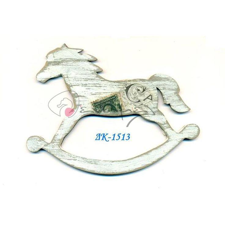 Ξύλινο διακοσμητικό άλογο καρουζέλ με τεχνοτροποία φτιαγμένη στο χέρι.  Το ξύλινο αυτό διακοσμητικό είναι ζωγραφισμένο μόνο από τη μία πλευρά.  Διαθέσιμο σε 3 μεγέθη 5 εκ, 8 εκ και 13 εκ.
