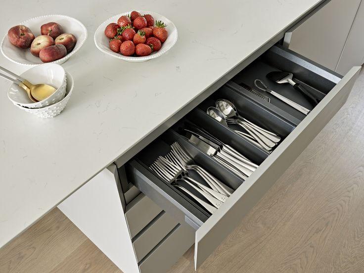 Soft Close Minimalist Drawers For Kitchen Island. Bespoke Modern Handleless  Cutlery Storage Drawer.