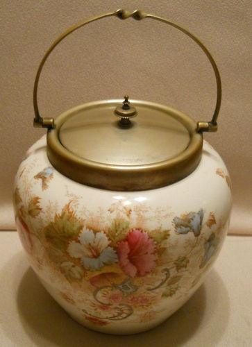 Unique Rare Vintage S. Fielding Co England Ceramic Biscuit Barrel Jar Handle Lid