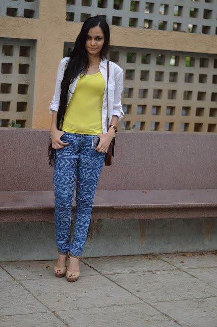 Aztec Pants, White shirt, Neon vest, nude peep toes, long hair, indian fashion blogger