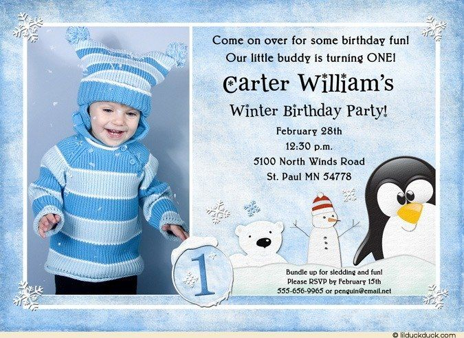 A penguin, polar bear, snowman, lots of ice snow -- penguin buddies birthday invitation has everything for party of winter fun! Your winter child's photo