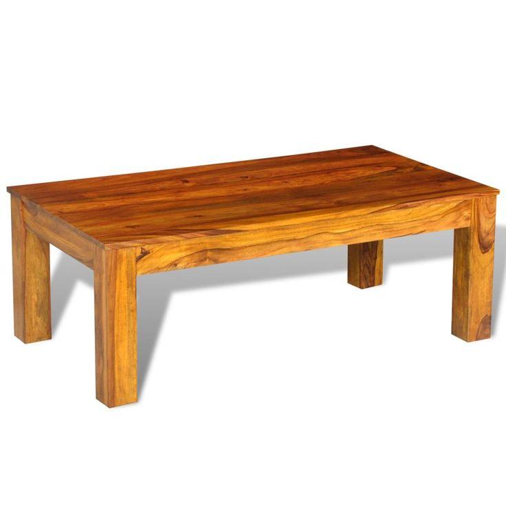 Mesa de café de madeira maciça 110 x 60 x 40 cm