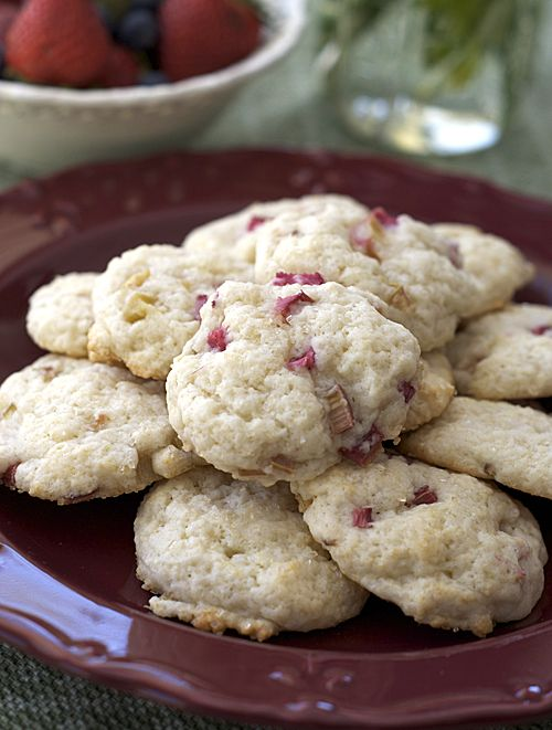 Rhubarb Cookies - wasn't sure what to expect when tried these today because I've never used rhubarb in cookies but I was pleasantly surprised. They were a soft cookie with a nice mix of tart and sweet. I will definitely make them again.