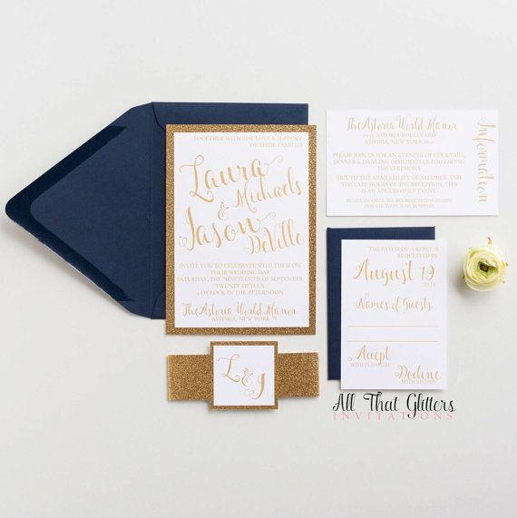 Classic Glitter Wedding Invitation, Laura
