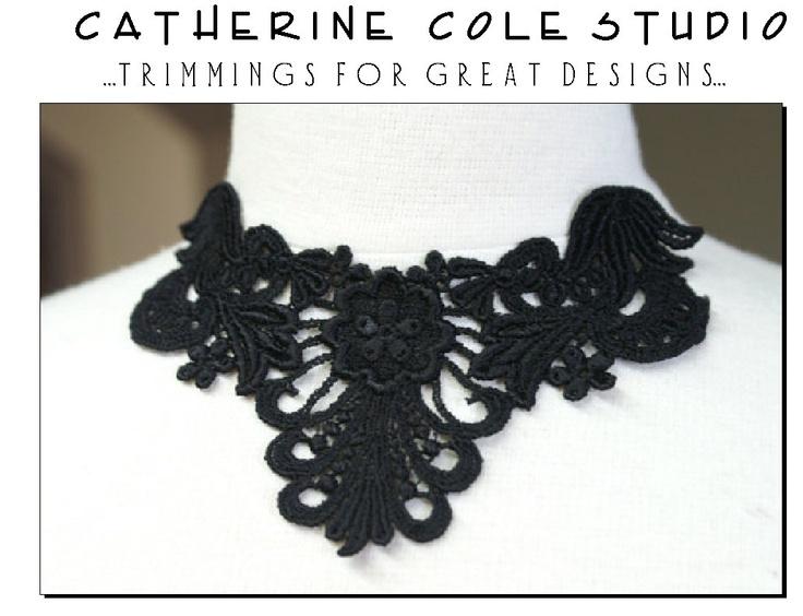 venise lace yoke applique trims pik a color 1pce.black, white, ivory  wedding lingerie bridal lace trims venise lace Catherine Cole Studio. $2.00, via Etsy.