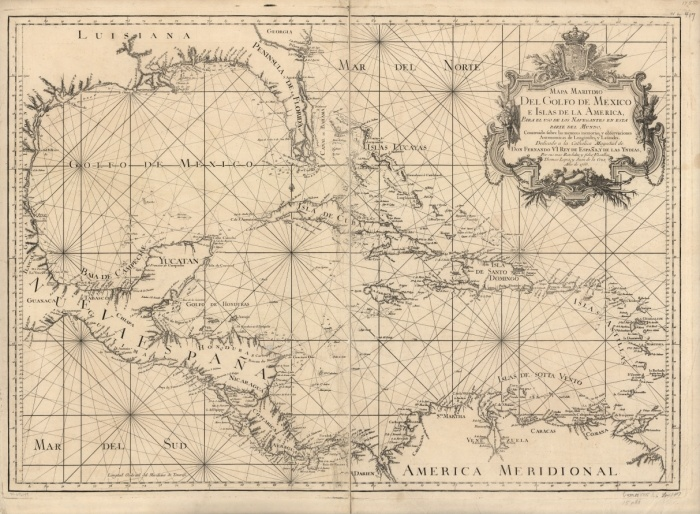 this 1755 nautical chart... a help in finding the   Jolly Rovers of Baritaria (successful pirates & smugglers) who imported (?) a wide variety of foreign goods for the fine people of New Orleans. The bay was an excellent hidden base for these brethren of the coast... in the Gulf of Mexico, just west sou west of that city...