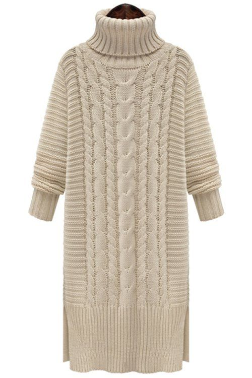 Twist Braided Turtle Neck Long Sleeve Sweater Dress