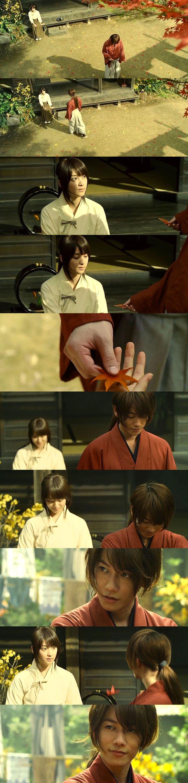 Kenshin: This is the most beautiful leaf. This is how I will live. Kaoru: Live … in this new age. Kenshin: Kaoru-dono … Will you watch over it with me? Kaoru: Eh? Rurouni Kenshin: The Legend Ends (Densetsu no Saigo-hen). Takeru Satoh as Kenshin Himura, Emi Takei as Kaoru Kamiya. #Kenkao