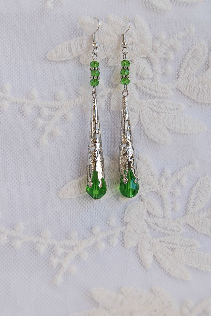 Emerald Green Earrings, Wife Green Gift, Womens Gifts, Filigree Earrings, Long Victorian Earrings, Art Deco Earrings, Statement Earrings, Bohemian Earrings, Edwardian earrings, Christmas, New Year