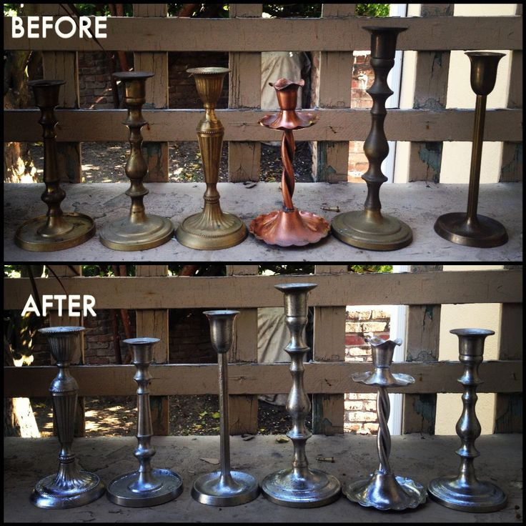 Ashley treated bottles and candlesticks with white vinegar and Krylon's Looking Glass Mirror-Like Spray Paint to create a mercury-glass effect.