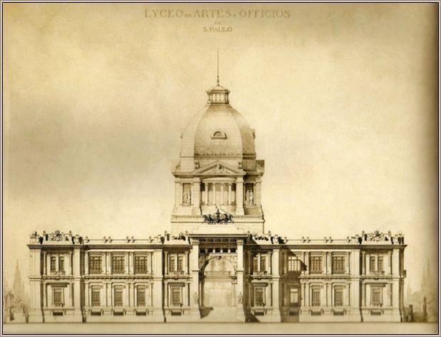 Como era o belo projeto do Liceu (1897), que viraria a Pinacoteca caso fosse concluído