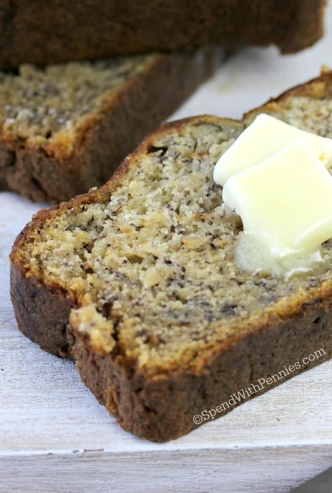 Easy Banana Bread Pin it to your BREAKFAST BOARD to SAVE it for later! Follow Spend With Pennies on Pinterest for more great tips, ideas and recipes! You will love this easybanana bread recipe! Not only is it completely moist and delicious, it takes just 10 minutes to prepare! If your family doesn't like nuts …