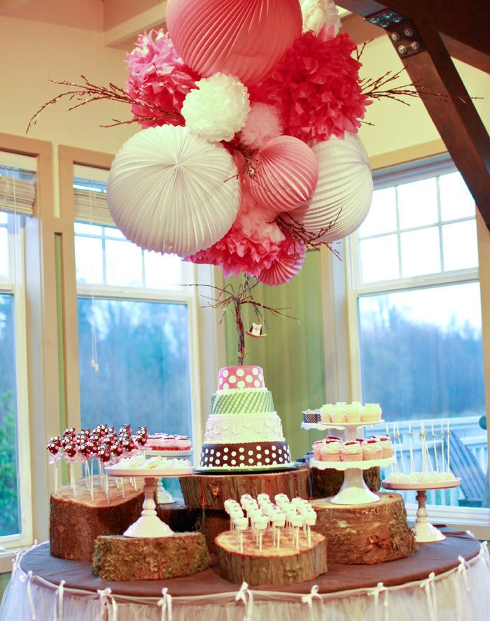 i think this will be perfect for engagement parties of young country couple. :)  I love this nature meets girly buffet! #nature #girly #pink #white #pompom #buffet #dessert #candy #birthday #party #baby #shower