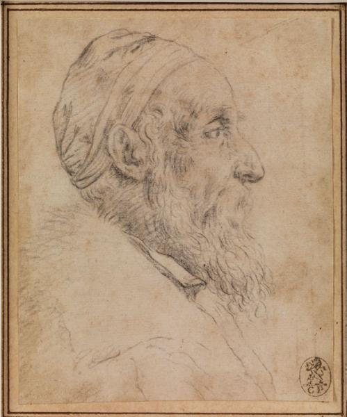 """Titian - 1485/1490 Pieve di Cadore - 1576 Venice - SELF-PORTRAIT - - Black[...], mis en vente lors de la vente """"Catalogue 3 - Titien"""" à Hampel Fine Art Auctions   Auction.fr"""