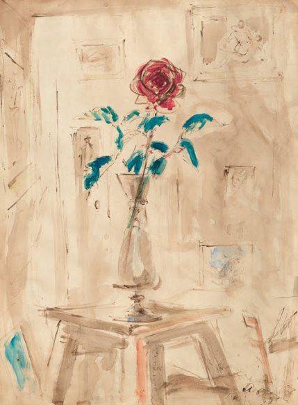 Filippo De Pisis | Filippo De Pisis, Rosa nel vaso