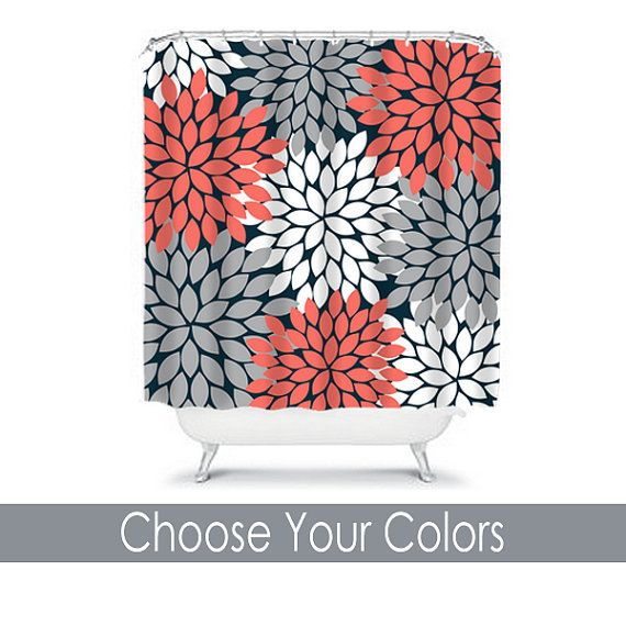 Grey And Coral Shower Curtain Coral Colored Shower Curtain