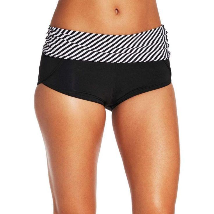 Calia by Carrie Underwood Reversible Boyshort Bikini Bottoms, Women's, Size: XS, Black