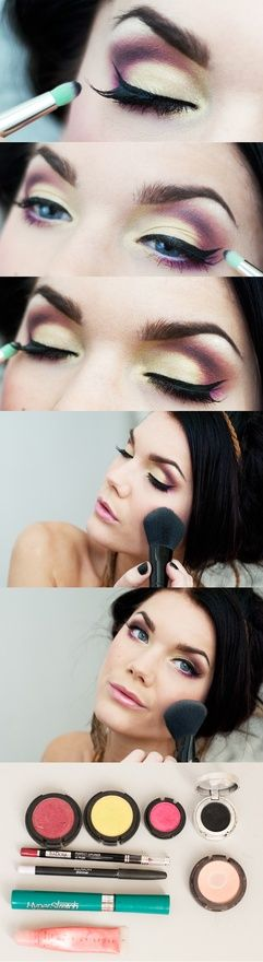 Linda Hallberg with products... Looks like MAC Impassioned for the crease colour and Maybelline Studio Liner gel liner