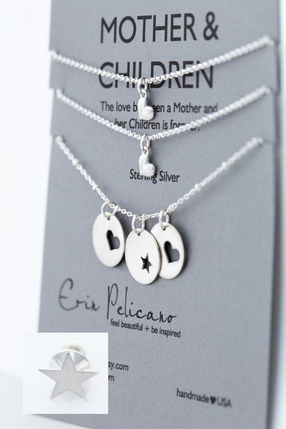 Mother Children Necklace Set. Sons. Daughters. Inspirational Jewelry. Simple Delicate Sterling Silver
