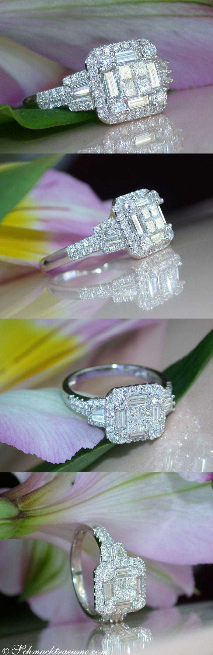 Enchanting Diamond Ring, Baguette, Princess & Brilliant Cut, 1.29 ct. TW-SI/VS WG18K - Visit: Schmucktraeume.com