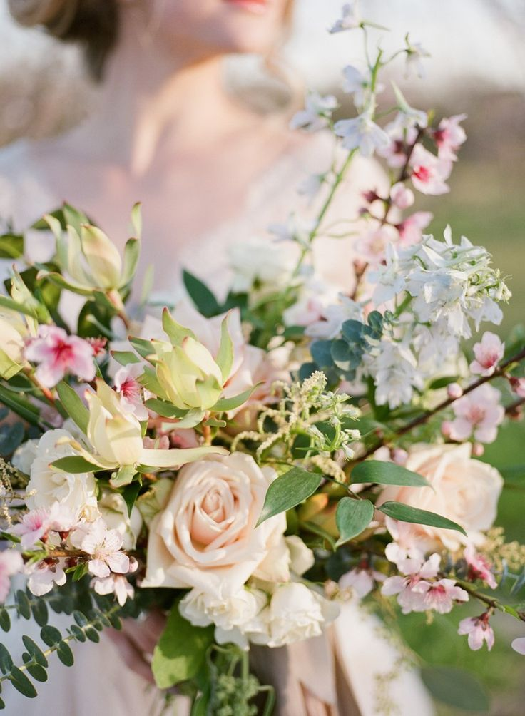 Romantic Spring Elopement Inspiration In A Peach Orchard Full Of Blossom Floral BouquetsBridal
