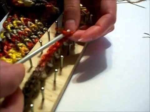 Bufanda en telar rectangular punto cruzado - YouTube