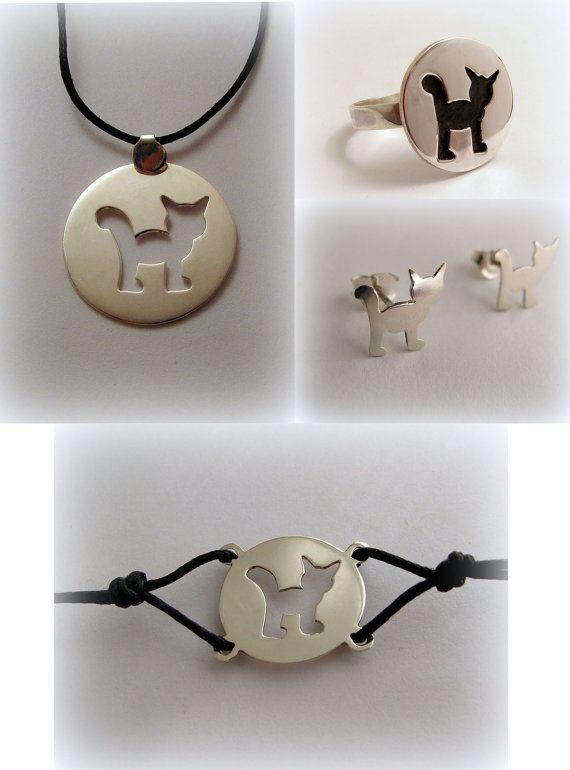 Silver cat sets earrings pendant bracelet ring by Minicsiga