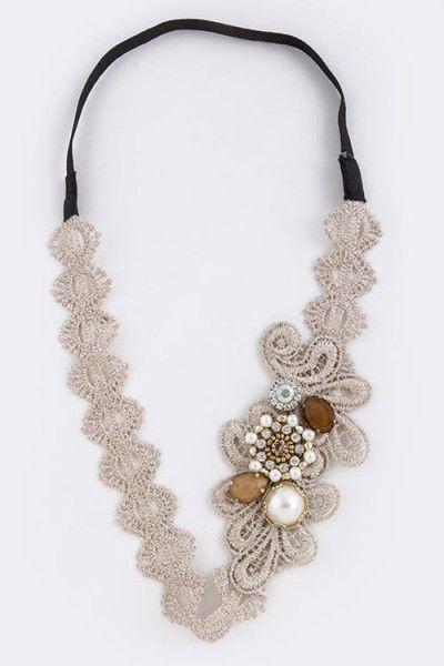 boho crochet headband   crochet lace headband with stone and pearl embellishment. one size   ELEVALE