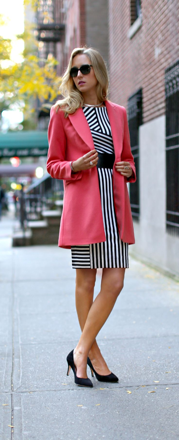 Pink coat with black white striped sheath dress and for Jewelry to wear with coral dress