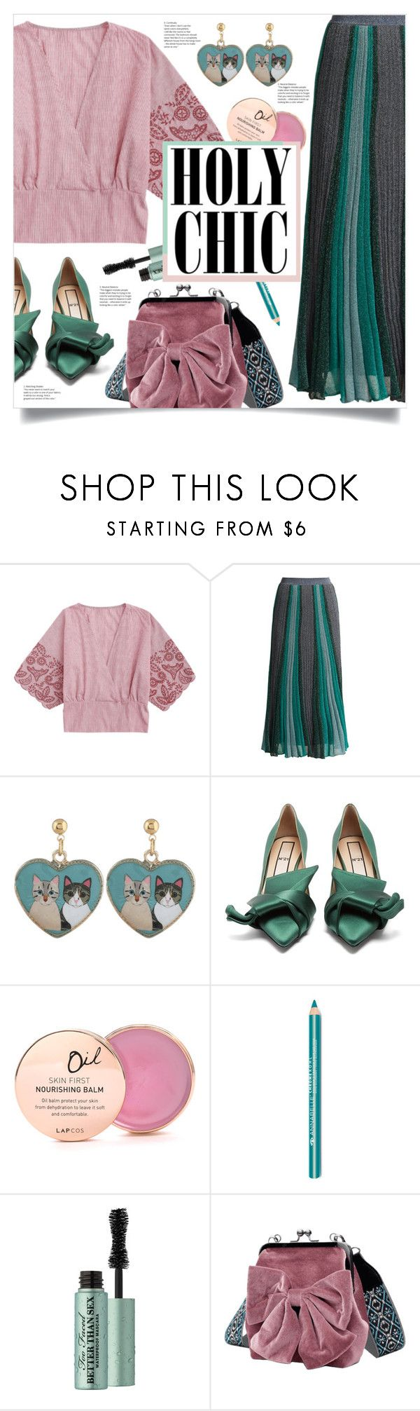 """""""Holy Chic"""" by mahafromkailash ❤ liked on Polyvore featuring Missoni, N°21, Lapcos and Too Faced Cosmetics"""