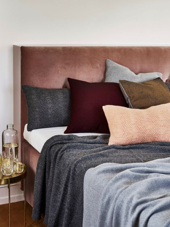 Louise Roe AW15. Marsala. Grey. Cushions. Bed.