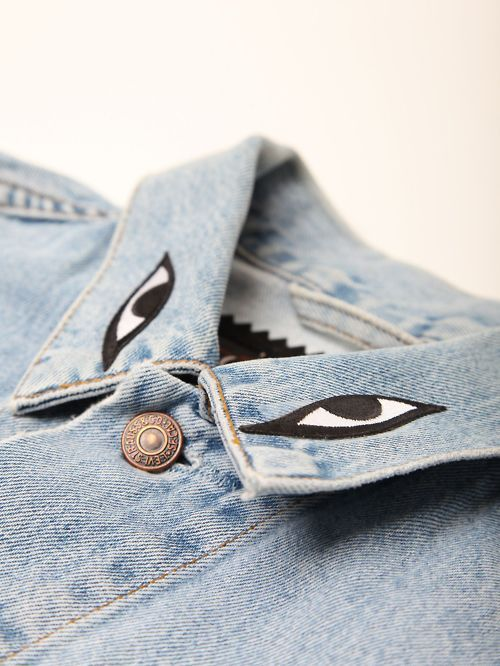 DIY Eye Collar Denim Jacket Inspiration