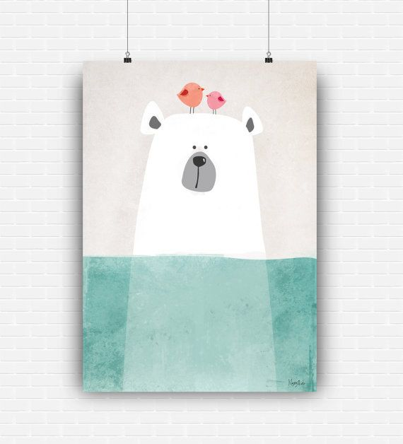 Beautiful illustration art with cute bear in the sea. High quality poster design for wall decoration. Digital art print for instant download