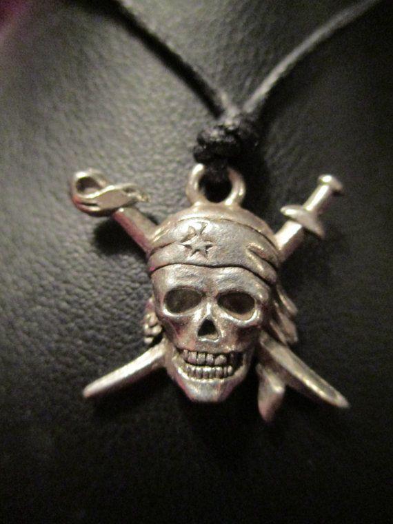 Pirate Skull Pendant on Adjustable Cord by ChocolateMountain